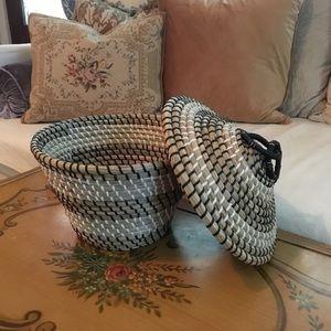 Other - Vintage Boho Basket with Lid
